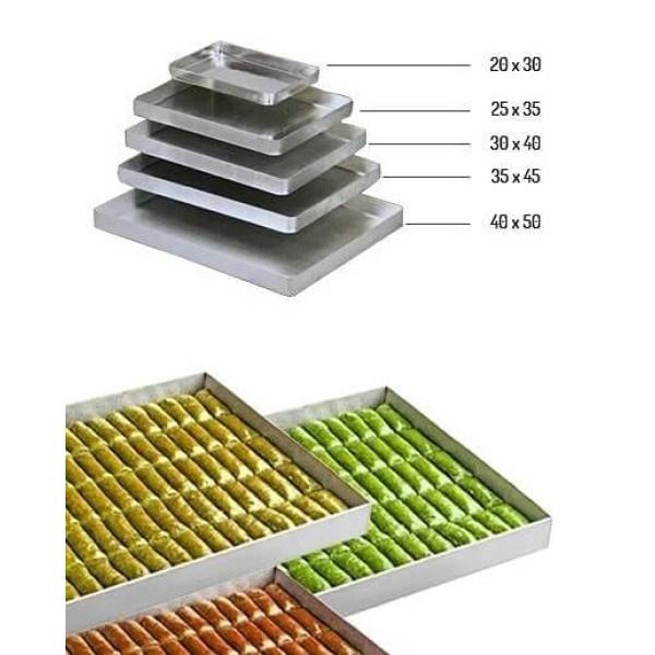 Sanal Fırın - Pastane ve Fırıncılık Malzemeleri AL METAL ALAMİNYUM KÖŞELİ BAKLAVA TEPSİSİ 20x30x 3 CM