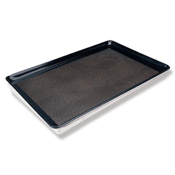 Sanal Fırın - Pastane ve Fırıncılık Malzemeleri AL METAL TEFLONLU KORDONLU DELİKLİ ALUMİNYUM TAVA 2 MM 60X80 CM