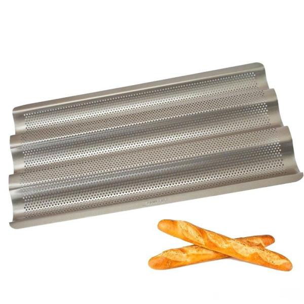 Sanal Fırın - Pastane ve Fırıncılık Malzemeleri AL METAL TEFLONSUZ BAGET EKMEK TAVASI ÇAP 3 MM 60X80 CM