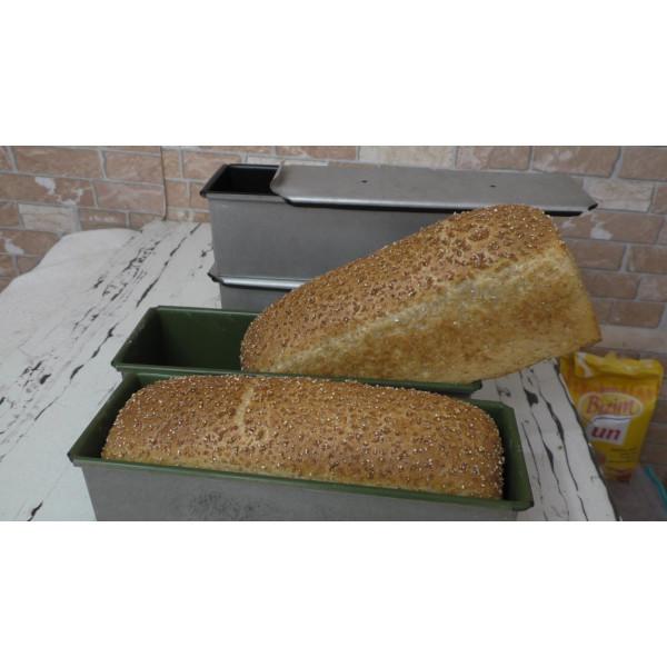 Sanal Fırın - Pastane ve Fırıncılık Malzemeleri Çavdar Tost Ekmek Tavası Teflon Kaplama 11x11x16 Cm